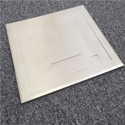2 Power Stainless Steel Flush Floor Outlet Box